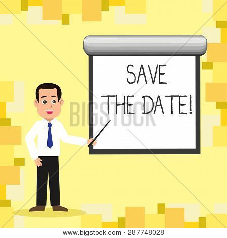 Word writing text Save The Date. Business concept for Remember not to schedule anything else that time Appointment. stock photo