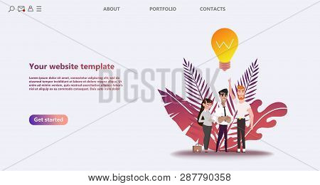 Business landing page template. Team work landing page template. Social network landing page template. Use for   template, landing page, ui, ux, web, mobile app, poster, banner, flyer - Vector stock photo