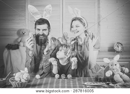 Father, Mother And Son Paint Handmade Egg. Happy Family Celebrate Spring Holiday, Love. Happy Easter