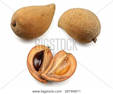 Variety of sapote native to southern Mexico, isolated on white. stock photo
