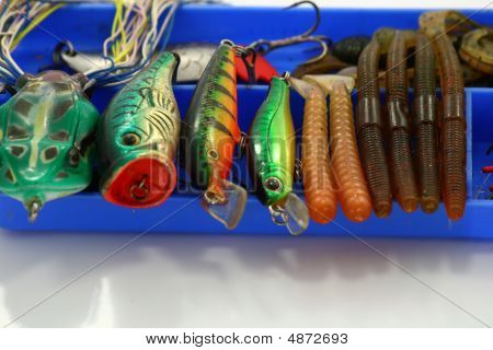 Fishing lure wobbler box on white background