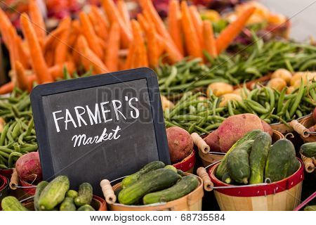 Fresh organic produce on sale at the local farmers market. ** Note: Soft Focus at 100%, best at smaller sizes stock photo