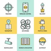 Unmanned Aerial Vehicles Flat Icons
