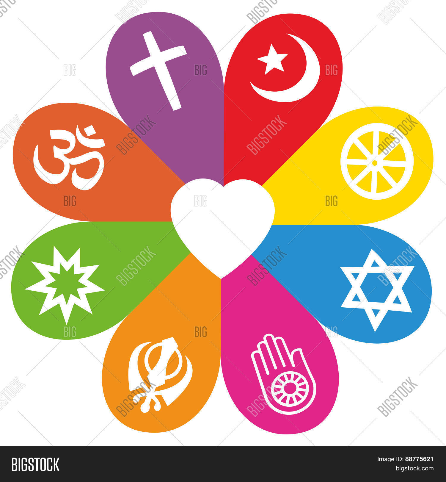 Religion Symbols Flower Love Colors Photo Stock