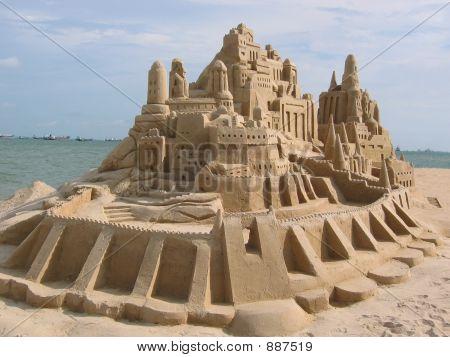 a grand sand castle found on east coast beach at singapore stock photo
