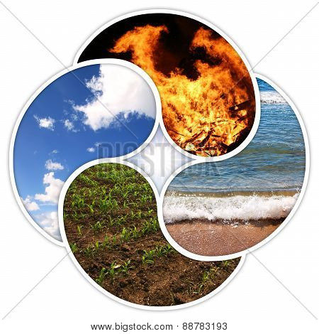 Fire, water, earth, air. Designed in a quadruple yin yang symbol. stock photo