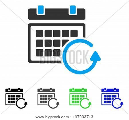 Update Calendar flat vector pictogram. Colored update calendar gray, black, blue, green icon versions. Flat icon style for application design. stock photo