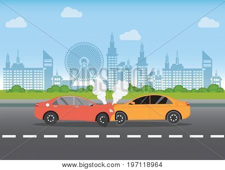 Car crash on the road car accident with Red and yellow cars are broken in the city landscape road accident conceptual vector illustration. stock photo
