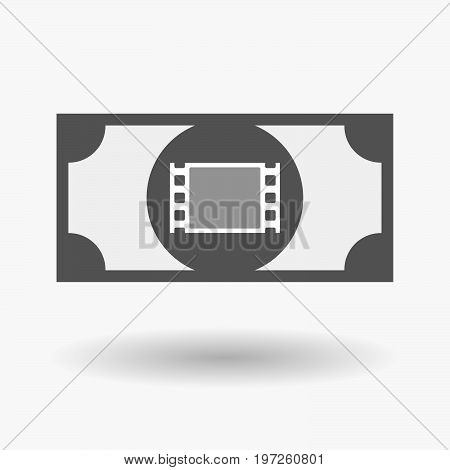 Illustration of an isolated bank note with a film photogram stock photo