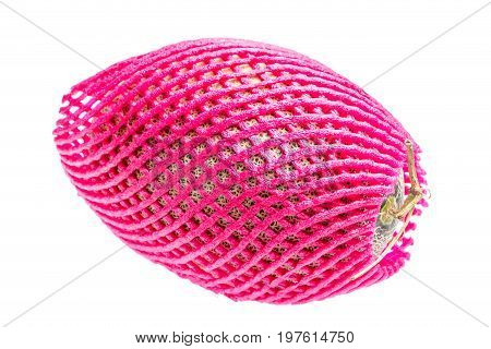 Hamigua melon (sweet cantaloupe melon) in red net foam protection isolated on white background. stock photo