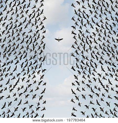Concept of individualism and Individuality symbol or independent thinker idea and new leadership concept or individual courage as a group of birds flying with one individual in the opposite direction as a business icon in a 3D illustration style.