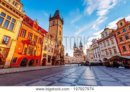 Fantastic scene of the town hall in sunlight. Popular tourist attraction. Location famous place old town square on Prague, Czech Republic, Europe. Unesco heritage. Beauty world. stock photo
