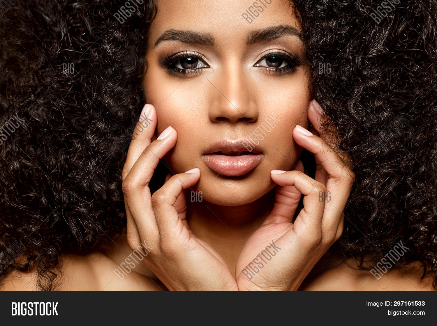 Beauty black skin woman African Ethnic female face. Young african american model with long afro hair