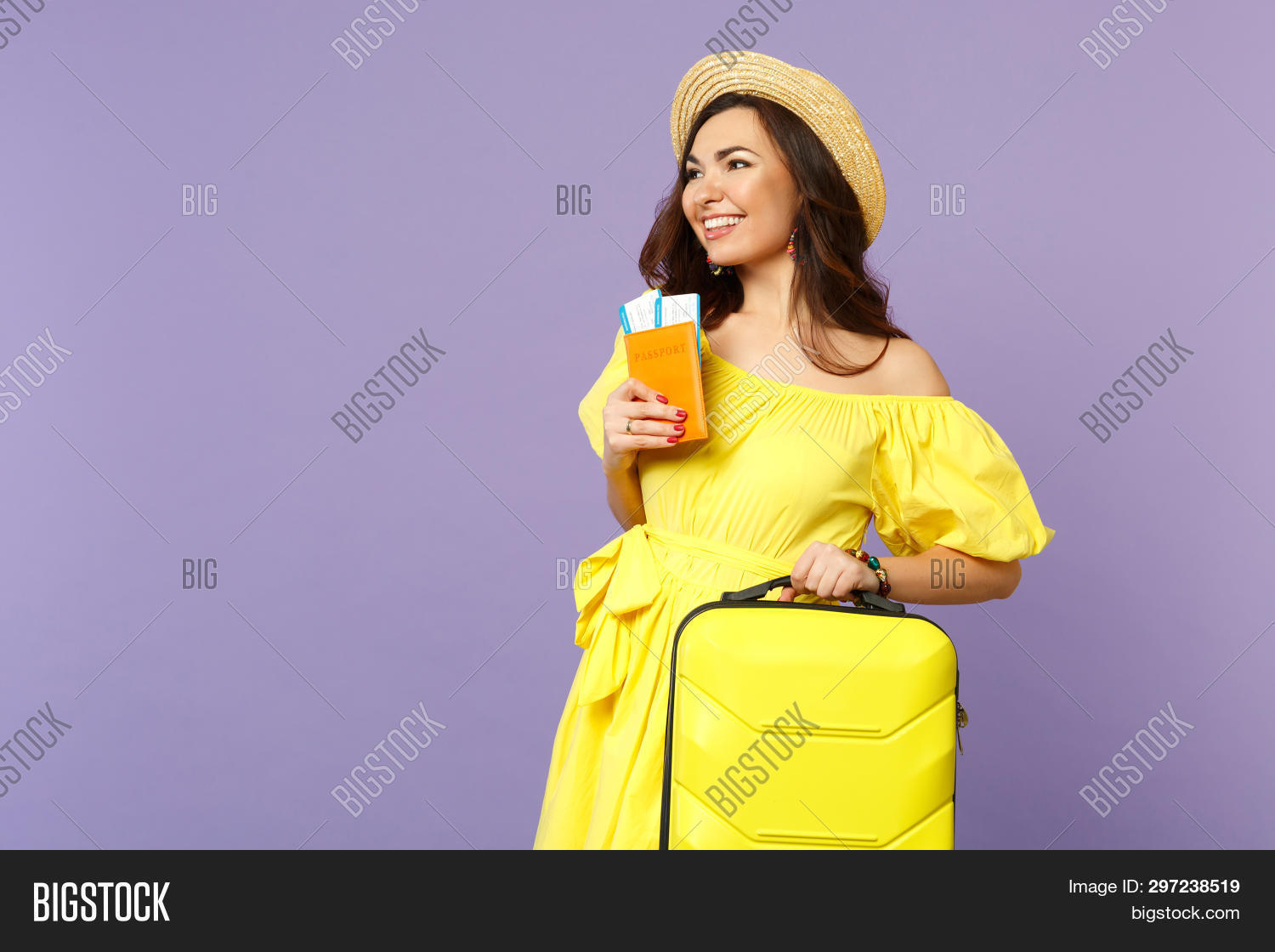 Smiling Young Woman In Yellow Dress, Summer Hat Hold Suitcase, Passport Boarding Pass Ticket Isolate