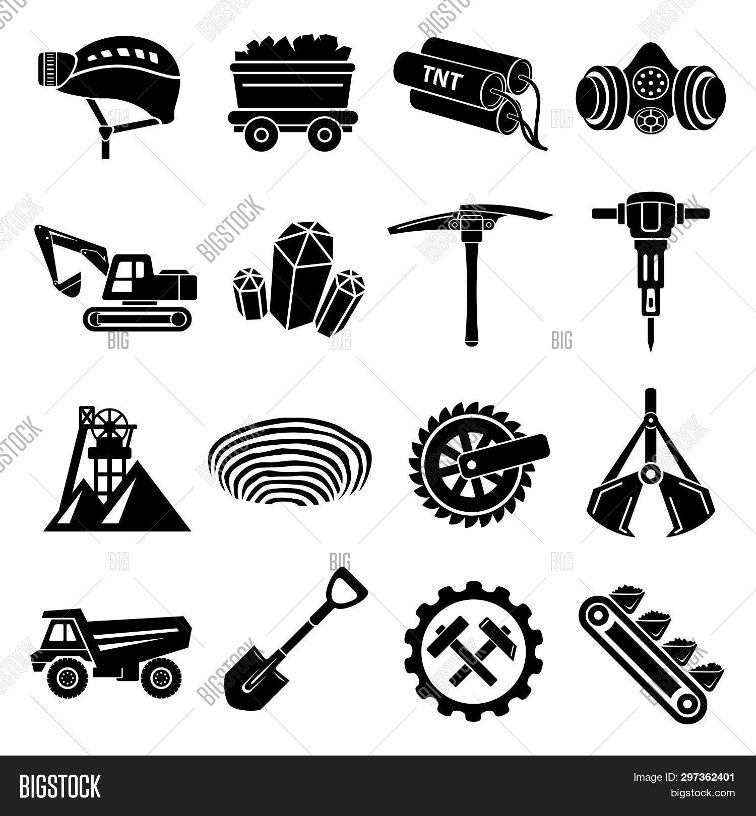 Coal Mine Icons Set. Simple Illustration Of 16 Coal Mine Icons For Web