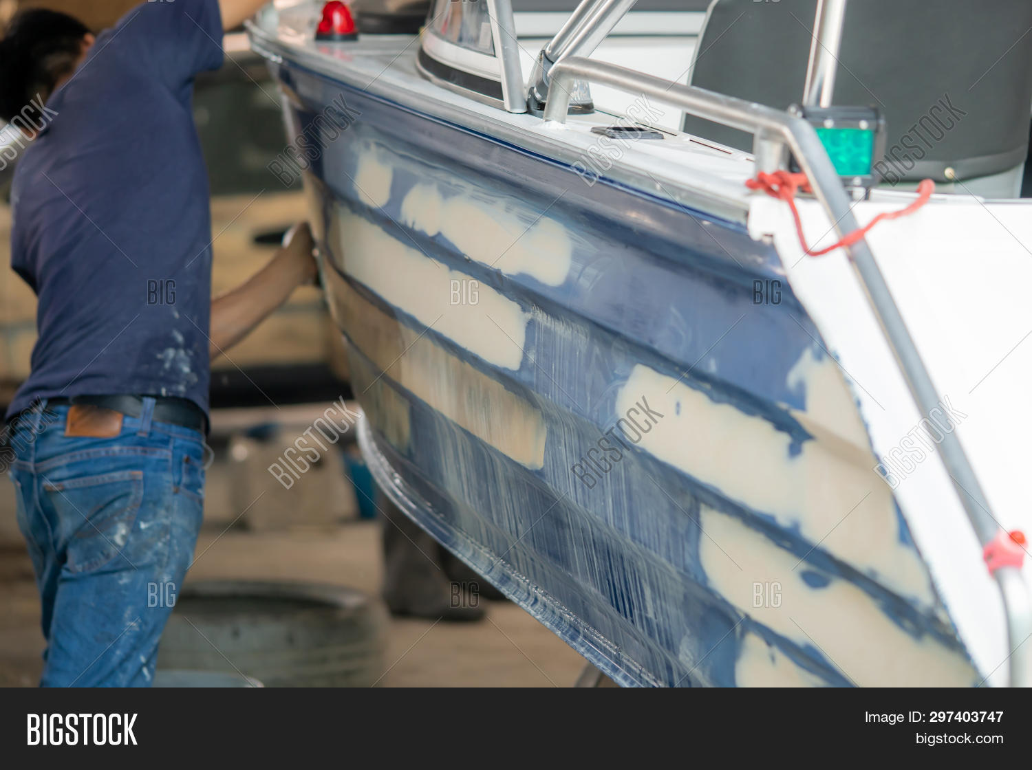 Repairing Boat Body By Puttying Close Up Work After The Accident By Working Sanding Primer Before Pa