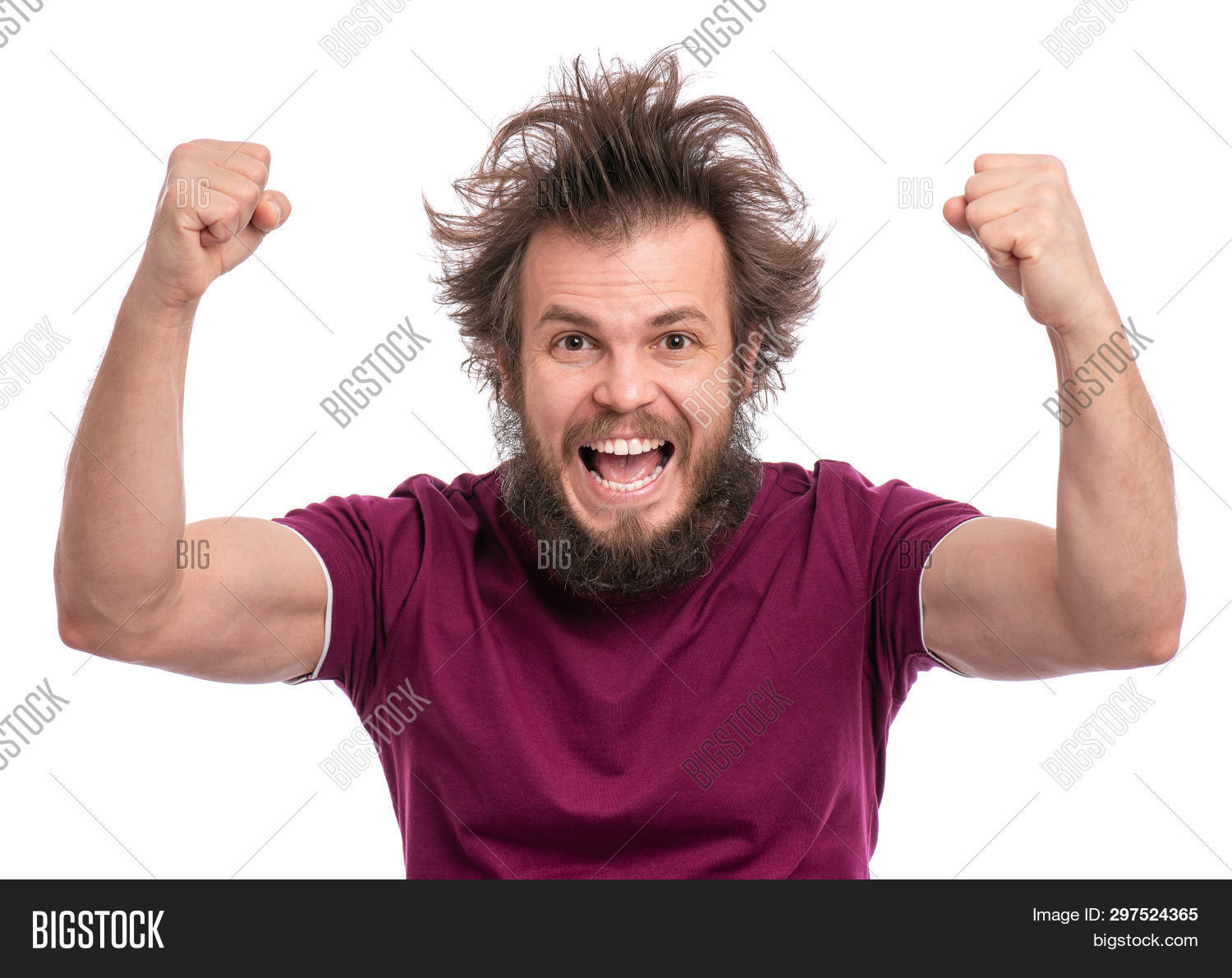 Happy winner. Crazy bearded Man with funny Haircut celebrating his success. Guy make victory gesture