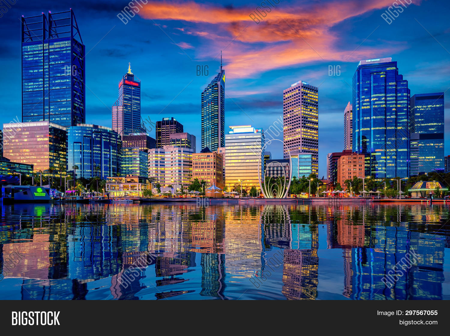Sunset In Perth City With Building And River , Perth, Australia. This Image Can Use For Travel, City