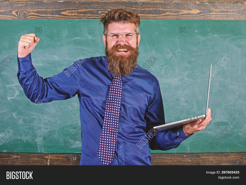 Pass Test Online. Distance Education Concept. Hipster Teacher Eyeglasses Holds Laptop Passed Distanc