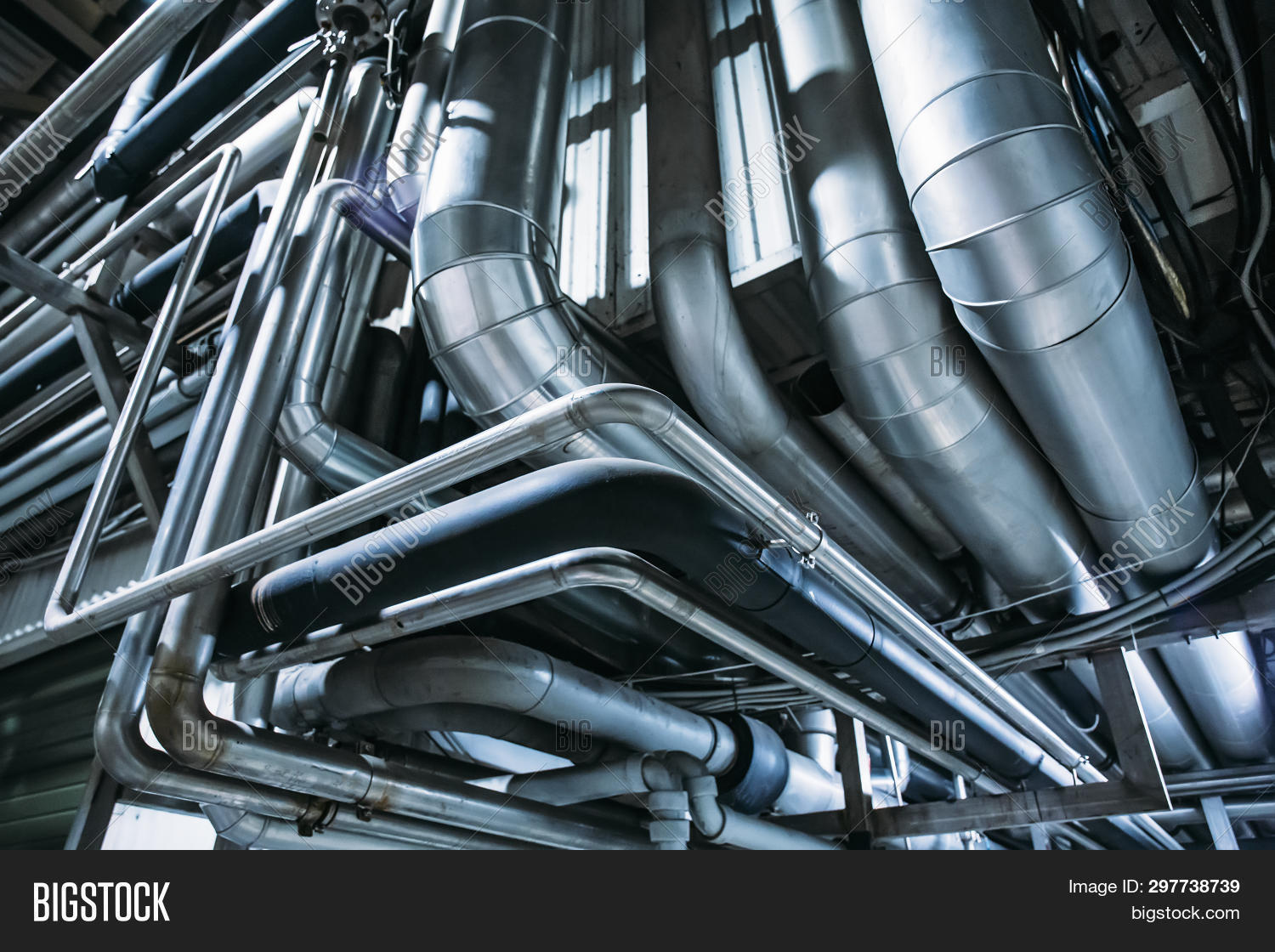 Industrial Steel Pipes Or Tubes Of Air Ventilation System As Abstract Industry Equipment Background