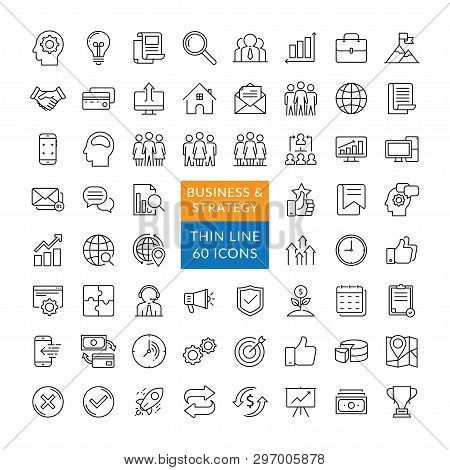 Business Management And Finance Vector Line Icons. Simple Collection Of Business Related Line Icons.