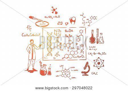 Scientist With Pointer, Scientific Research, Laboratory Equipment, Gene Structure Study. Biologist,