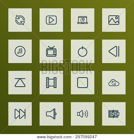 Media icons line style set with loudspeaker, next, start and other cloud elements. Isolated  illustration media icons. stock photo