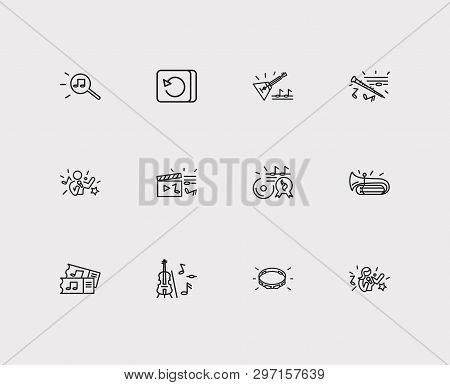 Melody icons set. Music hit and melody icons with repeat button, music tickets and tambourine. Set of talk for web app logo UI design. stock photo