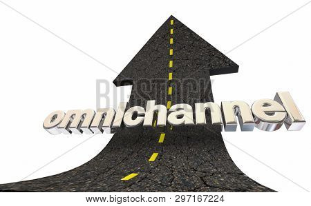 Omnichannel Cross Content Delivery Strategy Road Arrow 3d Illustration stock photo