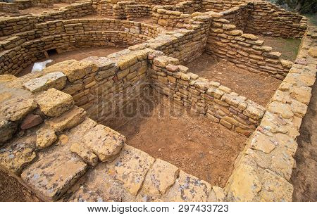 Ruins of an ancestral Puebloan building at Mesa Verde National Park. stock photo