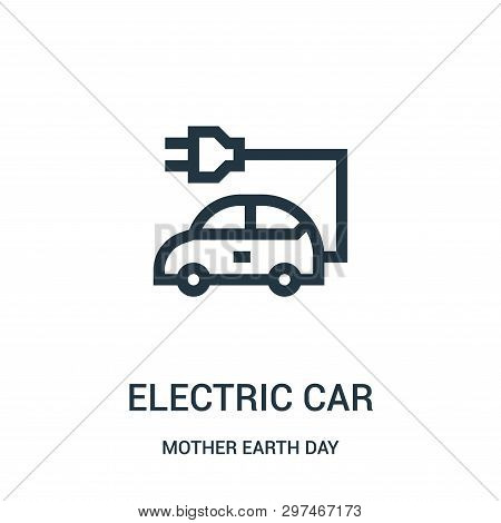 electric car icon isolated on white background from mother earth day collection. electric car icon trendy and modern electric car symbol for logo, web, app, UI. electric car icon simple sign. electric car icon flat vector illustration for graphic and web  stock photo