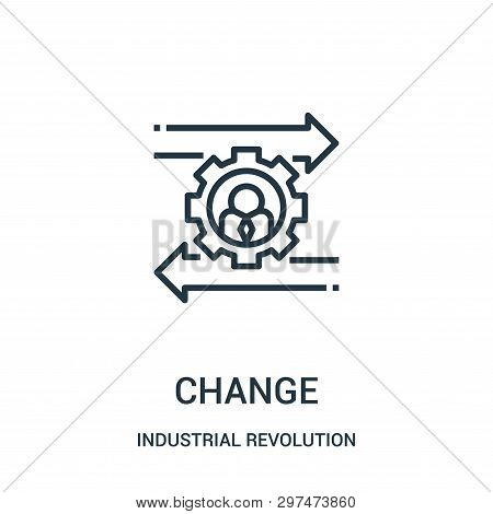 change icon isolated on white background from industrial revolution collection. change icon trendy and modern change symbol for logo, web, app, UI. change icon simple sign. change icon flat vector illustration for graphic and web design. stock photo