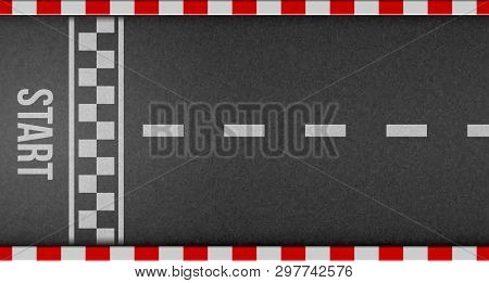 Creative vector illustration of finish line racing background top view. Art design. Start or finish on kart race. Grunge textured on the asphalt road. Abstract concept graphic element stock photo