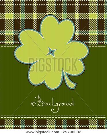 Four leaf clover textile label, saint  patrick background stock photo
