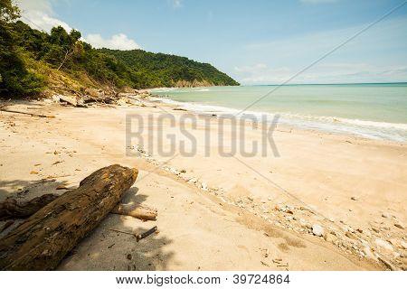 Sunny Empty Beach in Costa Rica