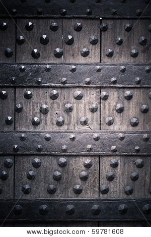 Old Wooden Background With Metal Rivets-Lg Fridge Magnet Skin (size 36x65)