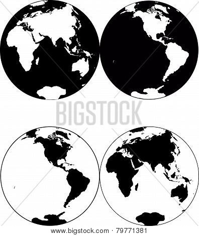 Beautiful black and white icon planet earth stock photo