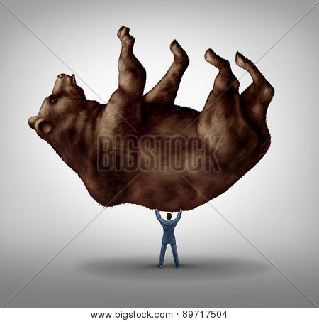 Selling stock and investing pessimism and financial business leadership as a downturn fear concept as a take charge businessman lifting a giant bear as an icon of for conservative bearish market investor. stock photo