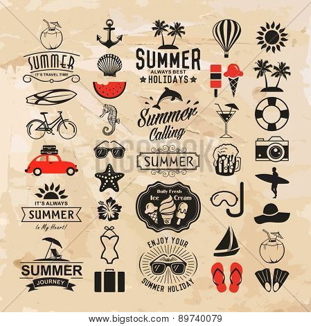 Summer logotypes set. Summer vintage plan components, logos, identifications, names, symbols and ite