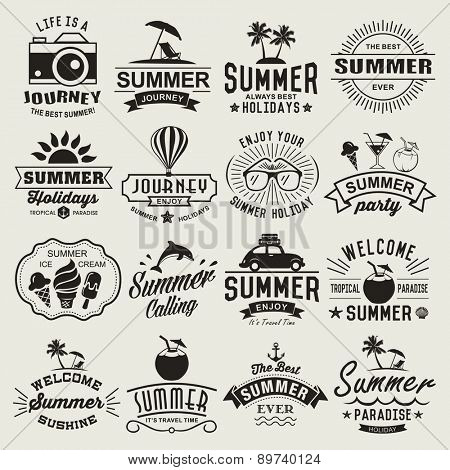 Summer Logotypes Set Typography Designs Vintage Design Elements Logos Labels