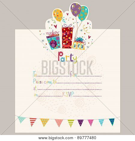Happy Birthday Invitation.Birthday greeting card with gifts and balloons in bright colors. Sweet car