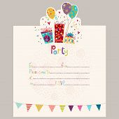 Happy Birthday Invitation.Birthday welcome card with presents and inflatables in splendid hues. Swee