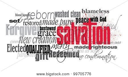 Salvation Christian word montage against white