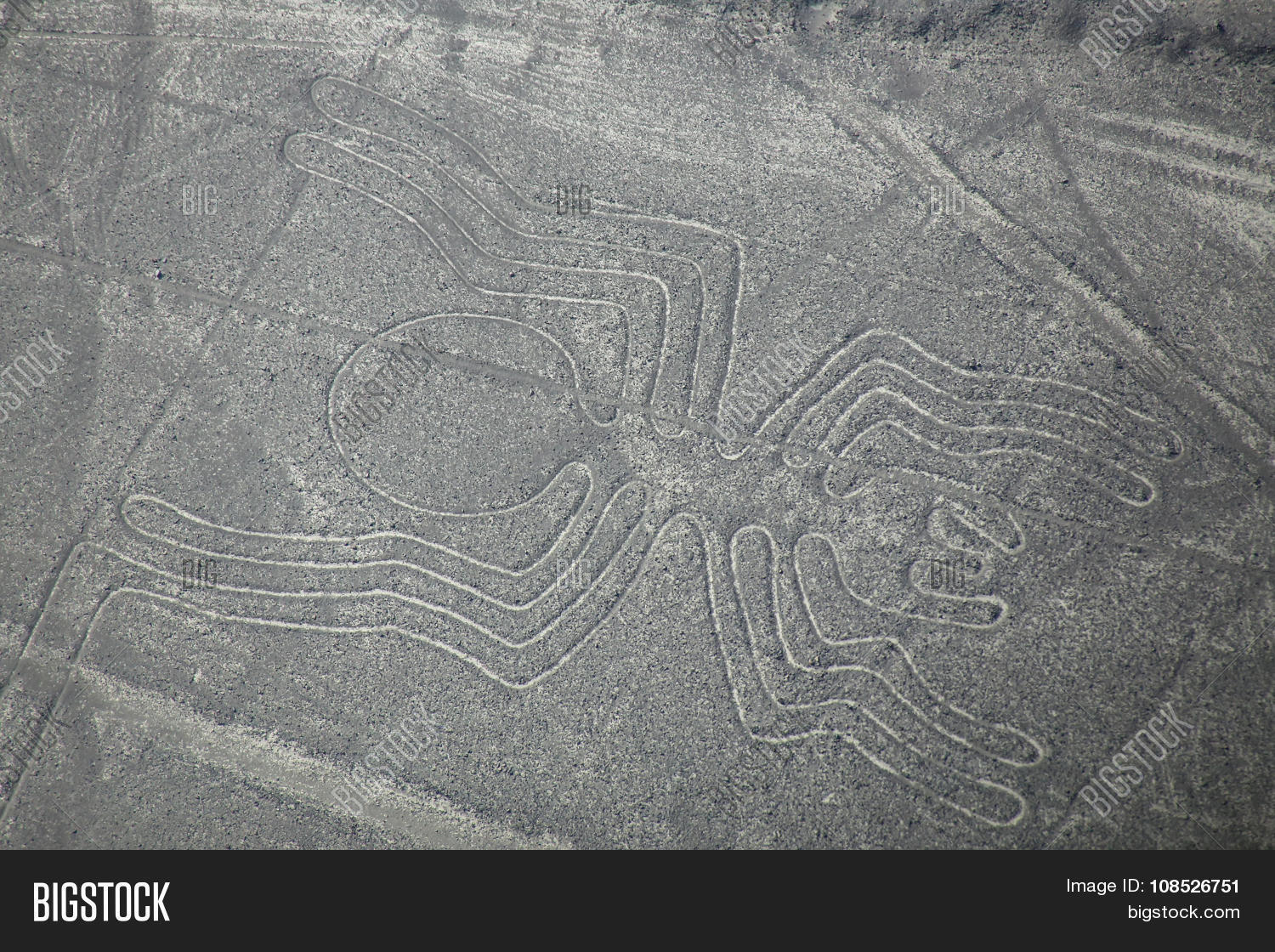 Aerial view of Nazca Lines - Spider geoglyph Peru. The Lines were designated as a UNESCO World Heritage Site in 1994.