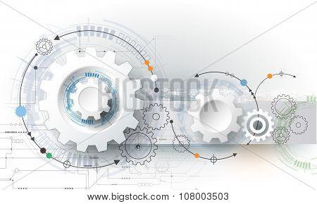 Vector illustration gear wheel hexagons and circuit board