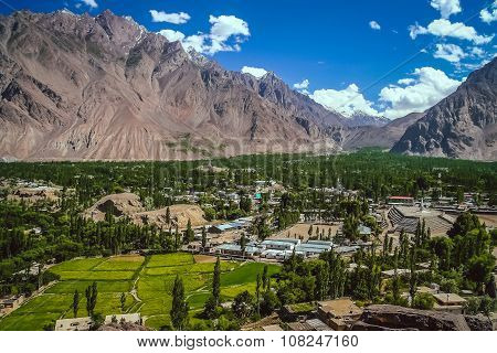 Beautiful green and fertile mountain valley in the Karakorum mountains in Pakistan, Skardu region stock photo