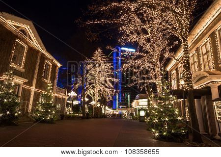 Christmas selebrations in Sweden at december night stock photo
