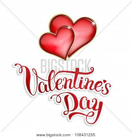 Original Hand Lettering Happy Valentine\'s Day On White Background