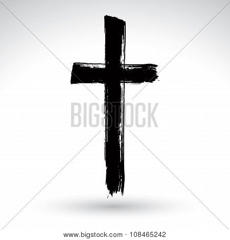 Hand Drawn Black Grunge Cross Icon, Simple Christian Cross Sign, Hand-painted Cross Symbol