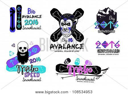 Set of snowboard logos, emblems and design elements.